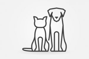 Cat with dog icon. Vector pets silhouettes in thin line style. Creative linear sign or logo for veterinary clinic